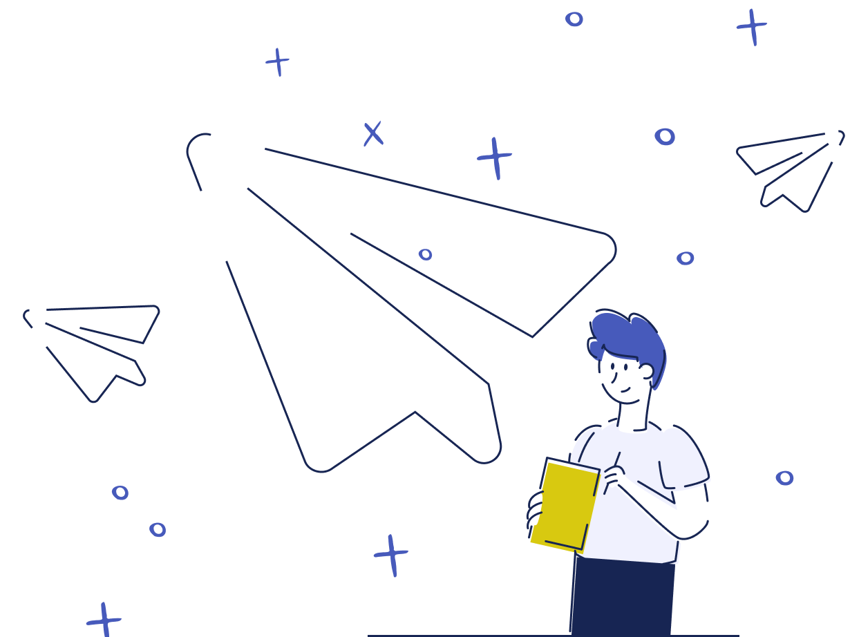 Illustration: A person holding a document in its hands. In the background some paper airplanes are flying around through the air.